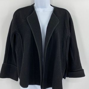 Ann Taylor Loft Black Wool Blend Open Cardigan S